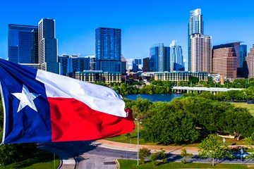 austin texas flag skyline