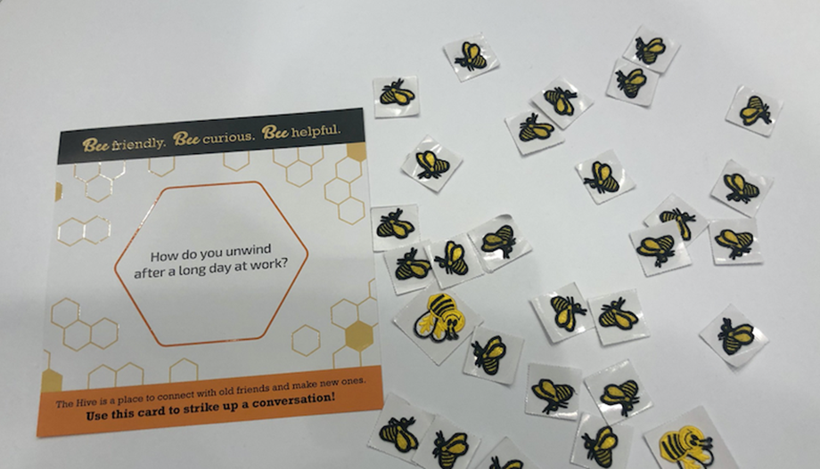 """New Bee"" attendee badge patches and coversation cards from the Hive"