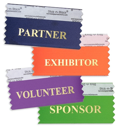 A sampling of the name-badge ribbon options for attendees
