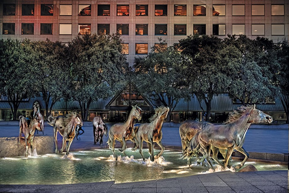 Mustangs at Las Colinas by sculptor Robert Glen graces the Williams Square complex in Irving, Texas.