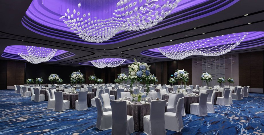 The pillarless ballroom at the Hong Kong Ocean Park Marriott Hotel