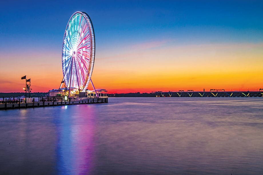 The Capital Wheel takes guests soaring above the Potomac in National Harbor, Md.