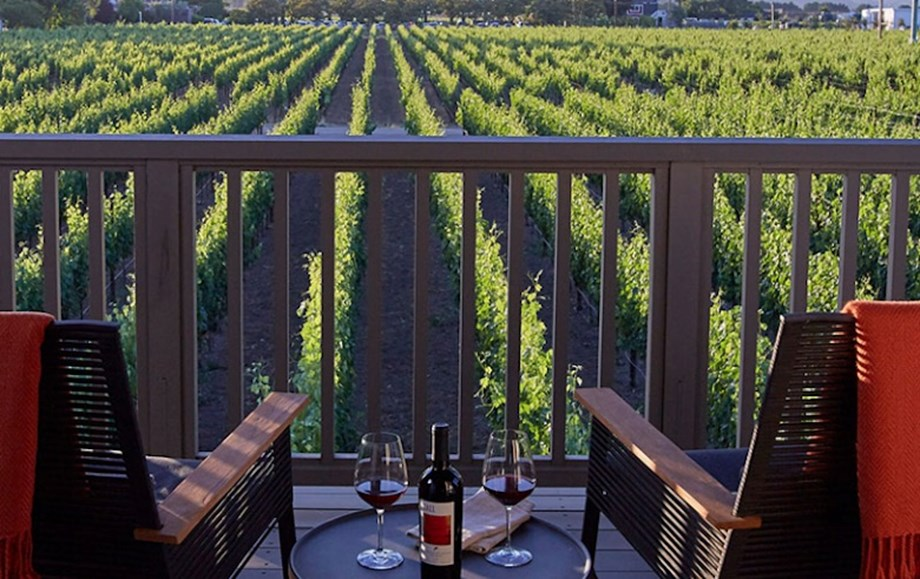Each guest room at the Senza Hotel features vineyard views.