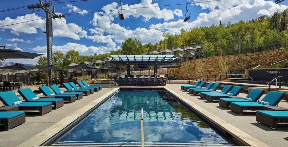 The Viceroy Snowmass recently renovated its amenity spaces, including its heated outdoor pool.