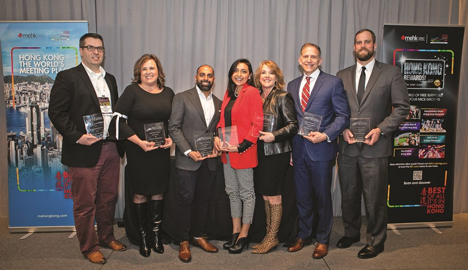 Accepting their just rewards: Jesse Wolfersberger of Maritz Motivation Solutions, Cheryl Maschal of Frontier Communications, Pali Chhabra of Brightspot, Melissa Hernandez of Petco, Rhonda Sucharda of MotivAction, John Michel of ITA Group and Ed Emch of Bridgestone