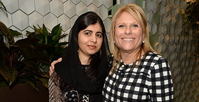 Malala Yousafzai with Celebrity Cruises president and CEO Lisa Lutoff-Perlo on the all-new Celebrity Edge