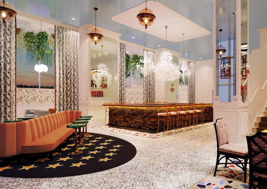A rendering of the lobby bar and lounge of the Graduate Nashville.