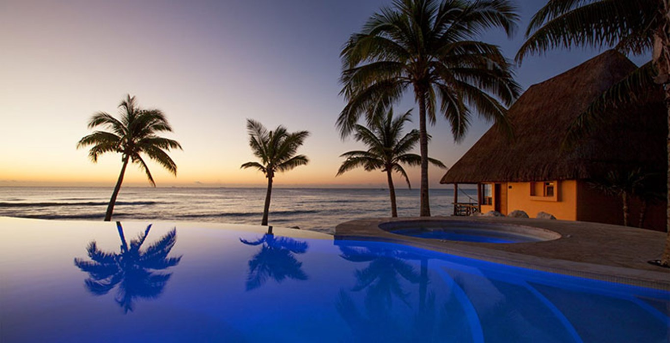 An infinity pool at the Mahekal Beach Resort in Mexico