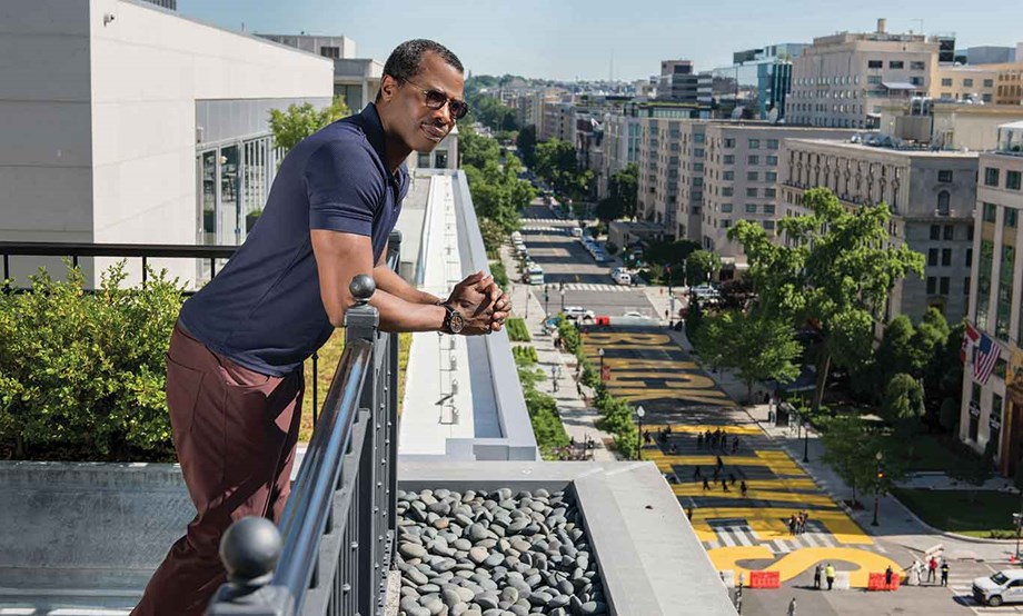 Destination DC's Elliott Ferguson, looking out over Washington's Black Lives Matter Plaza, says it's time to share more stories about being Black in the meetings industry.