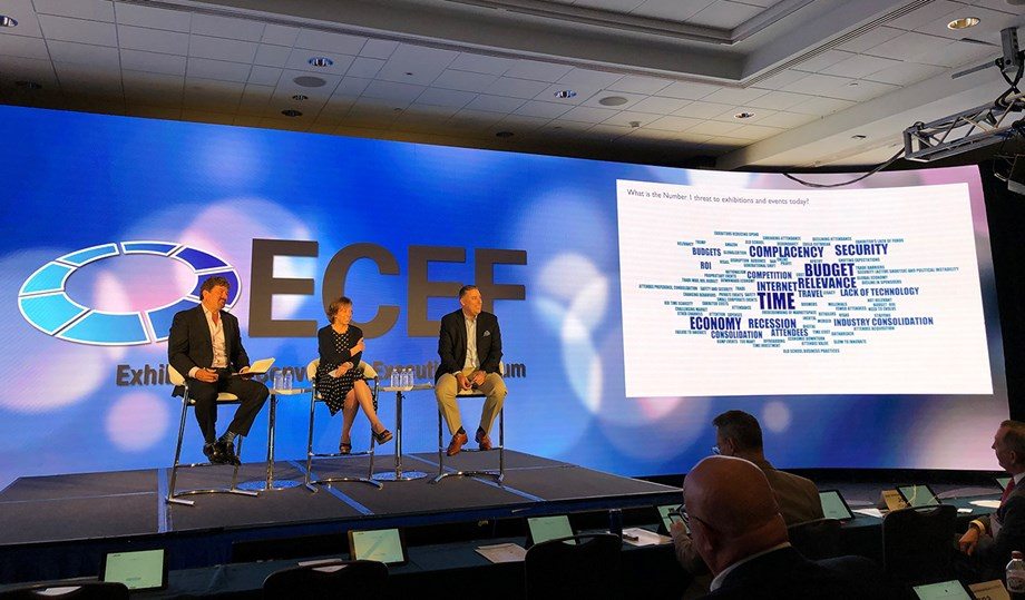 ECEF's Power Panel featured (from left) moderator Rick McConnell, president, North America, for Informa Markets; Linda Gray Martin, director/COO for RSA Conference; and Dennis Smith, president and CEO of Messe Frankfurt Inc.