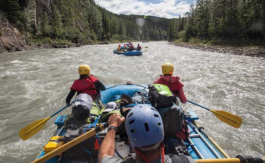 Rafting down the Tatshenshini River in the Kluane National Park is a popular way for groups to enjoy Yukon's natural resources up close.