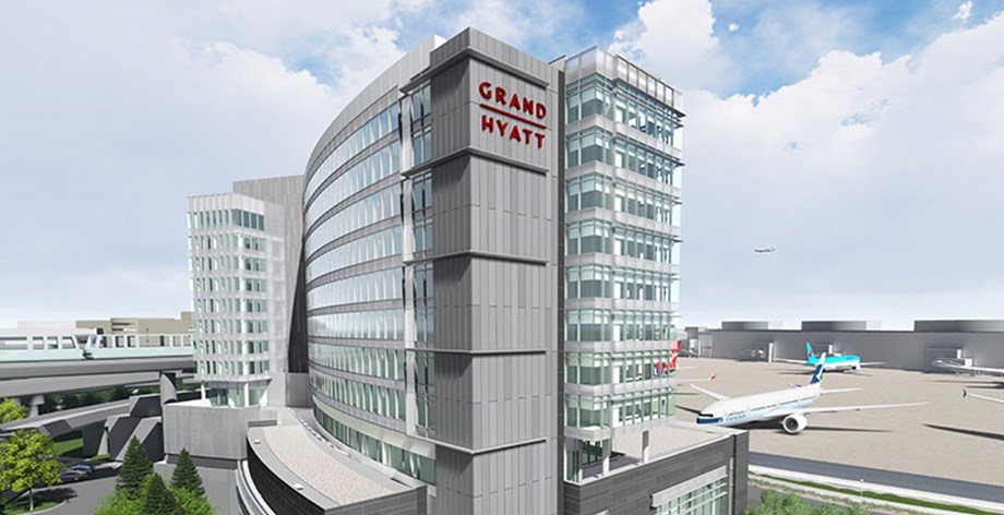 Rendering of the Grand Hyatt SFO, coming to the San Francisco International Airport